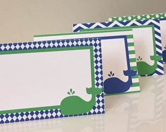 CUTE WHALE Theme Happy Birthday or Baby Shower Buffet Cards Table Tents Food Labels {Set of 8} Green Blue - Party Packs Available