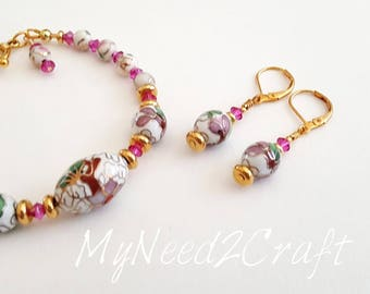 Porcelain Bracelet and Earring set