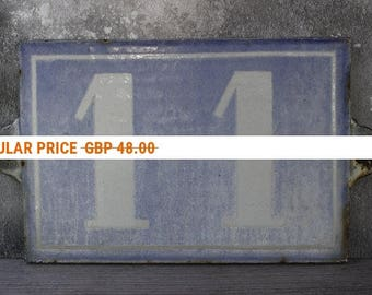 """Vintage French House Number..LARGE 9"""" x 6.1/4"""".NUMBER 11....Pale Blue Cast Metal...Shabby Chic."""