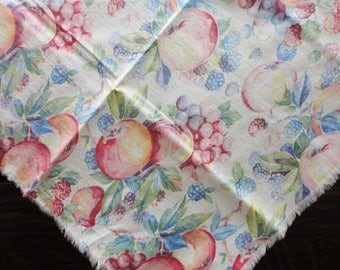 """Shabby Chic Fruit Lunch Cloth Fringed Edges  34"""" Square"""