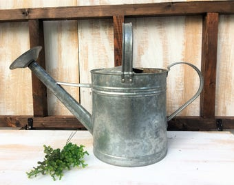 Vintage Watering Can/ Farmhouse Decor/ Rustic Metal Garden Watering Can