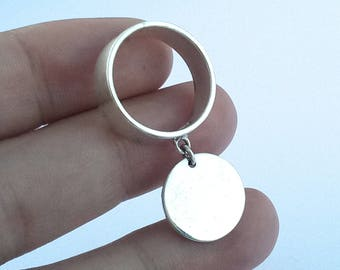 sterling silver moving disc ring
