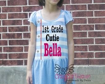 First Day of School Dress, 1st grade Cutie, Back to School School Dress, First day of school, First grade, Kindergarten, preK, 1st grade
