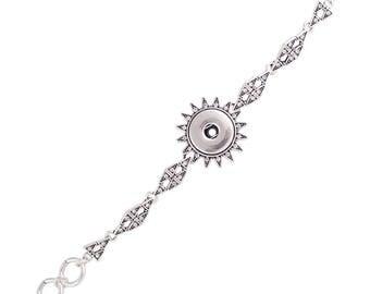 "1 Sun Rhinestone Bracelet - 6.25-7.75"" FITS 18MM Candy Snap Charm Jewelry Silver KC0717 CJ0835"