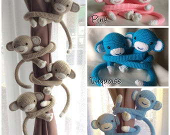 MADE TO ORDER - Pair of Crochet Monkey curtain tie backs Handmade Animal Wool Soft Toy Gift