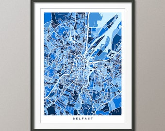 Belfast Map, Belfast Northern Ireland City Map, Art Print (3506)