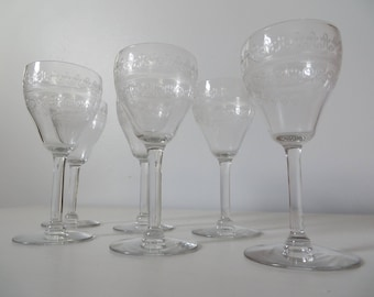 Antique Needle Etched Glass Cordials by Bryce or Tiffin - Set of Six