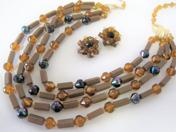 4 Strand Necklace - Vintage Topaz Lucite - Signed West Germany - AB Beads - Mid Century Tan Choker - Bib Necklace