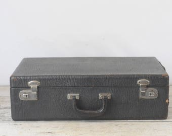 Vintage Suitcase Luggage Black Suitcase Travel Overnite Bag Makeup Bag