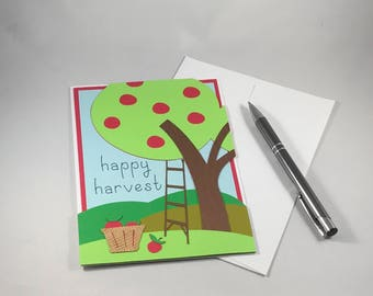 Happy Harvest Card, Apple Tree Card, Apple Picking Card, Thanksgiving Card, Autumn Harvest Card, Fall Harvest, Handmade Paper Card