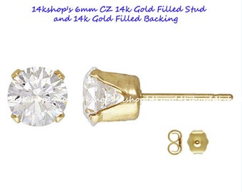 1 pair 14k 6mm CZ 14k Gold Filled Ear Earring Studs with backings stamped