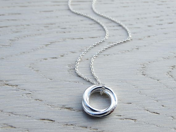 Silver Circle Necklace, Russian Knot, Sterling Silver