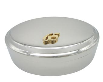 Gold Toned 65 Years Pendant Oval Trinket Jewelry Box