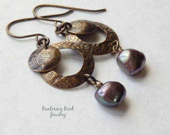 Iridescent Earrings, Baroque Pearl Dangle on Rustic Oxidized Brass Hoops, Black Freshwater Pearls, Handmade Boho Jewelry