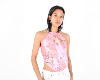 90s Chinese / Cheongsam Embroidered Blossom Satin Oriental Halter Neck Backless Tie Up Crop Top