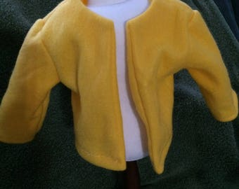"Bright Yellow fleece jacket for American Girl 18"" doll - free shipping"