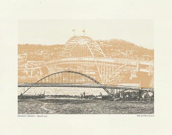 As Seen on Portlandia (t.v. show) - Fremont Bridge Art Print - Portland Oregon