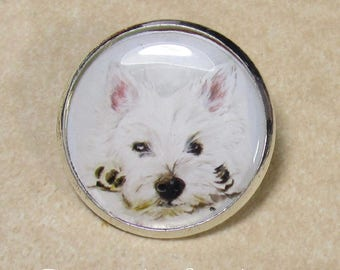 Westie Pin, West Highland White Terrier Brooch, Westie Jewelry, Westie Gifts, Westie Mom Gifts, Westie Dad Gifts, Gift with Westie