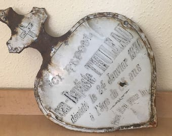 Vintage French Enameled  Memorial Plaque, RARE Heart with Cross Mourning Plaque
