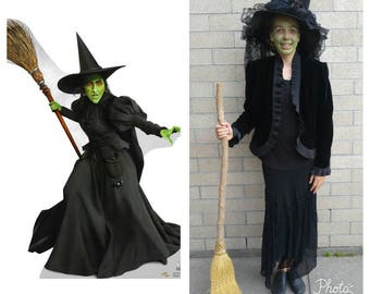Upcycled Clothing, Upcycled Wizard of Oz Costume, Wicked Witch Costume, Black Pointy  Hat, Black Velvet Jacket, Black Skirt, Adult Size