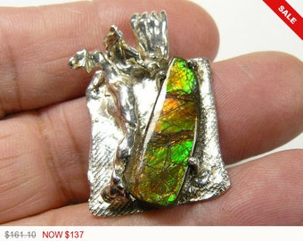 Designer Ammolite pendant, reticulated and drop cast sterling silver with SS chain(j020)