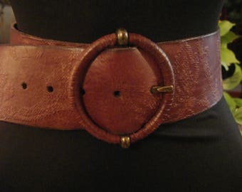 Vintage Boho Brown Leather Tooled Belt with Round Buckle