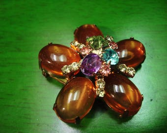 Vintage 1990's Boho Gold Peach Tone Brooch with Ebellished Jewels