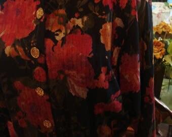 Vintage 1970 Classic Fall Inspired Long Sleeve Shirt Waist Dress
