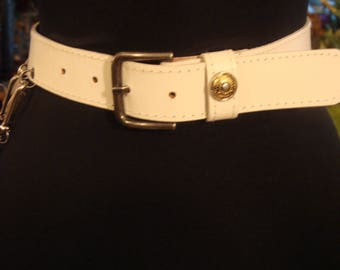 Vintage 1980s White Leather Side Chain Belt