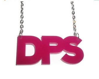 Pink DPS Necklace, Laser Cut Pendant, Damage Per Second, MMORPG
