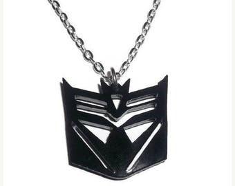 Deceptacon Necklace, Black Transformers Geek Jewelry