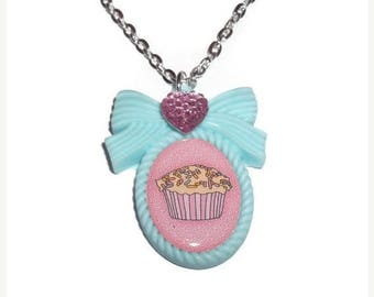 Mint Green Necklace, Kawaii Cupcake Cameo Necklace, Pastel Jewelry