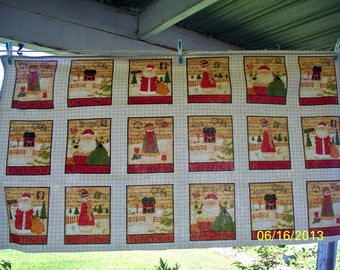 Greetings - Holiday Greetings on Stamps Quilt Blocks Fabric Panel