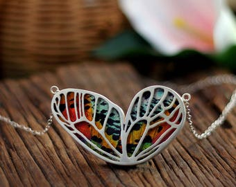Real butterfly necklace Butterfly wing jewelry Insect jewelry Entomology jewelry Gift for women Moth Biology gift Taxidermy jewelry