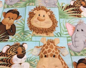 Green Baby Jungle Animal Coordinating Fabric (2 piece)
