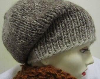 Winter hat handknit wool, mohair - sizeS/M -natural /brown