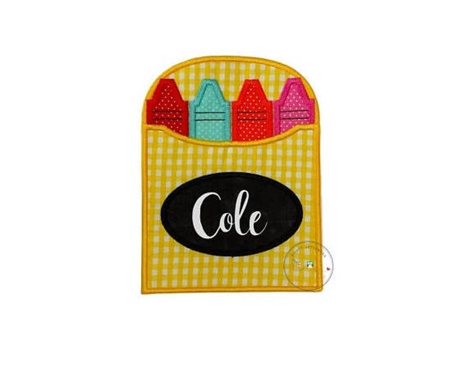 ON SALE NOW Yellow gingham crayon box iron on applique, personalizable crayon box for school no sew patch, bright multi-color back to school