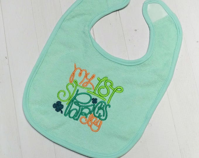 My First St. Patrick's day pastel green embroidered Koala Baby cloth baby bibs for 6-12 month old boys and girls