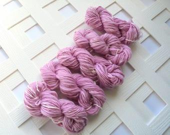 Handspun Mini Skeins, PETAL PINK, DK Weight Yarn, Thick and Thin Yarn, Handspun Yarn, Merino Mini Skeins, Mulberry Silk Handspun, Sparkly