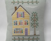 Bookstore Cross Stitch Mini Pillow Shelf Pillow