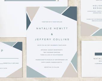 Modern Wedding Invitation Abstract Geometric Modern Chic Wedding Invitation Printable or Printed DIY Printable Print at Home