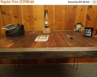 Limited Time Sale 10% OFF 20 x 40 Industrial desk with raw steel trim and hairpin legs