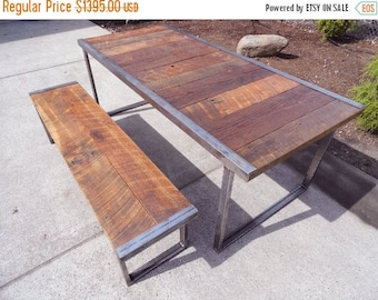 Limited Time Sale 10% OFF 6 ft Industrial Dining Table w/ matching 5 ft industrial bench