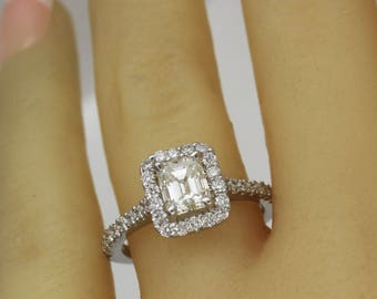 1.96 Ct. Emerald w/ Round Cut Diamond Ring E,VS2 GIA Certified