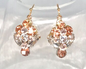 Rose Gold Earrings- Rose Gold Bridal Earrings- Rose Gold Wedding Earrings- Bridal Drop Earrings- Blush Dangle Earrings- Handmade Earrings