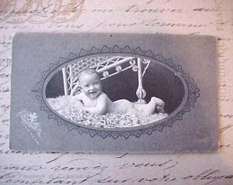 Sweet Victorian Era Photograph of Baby Boy on Fur Rug