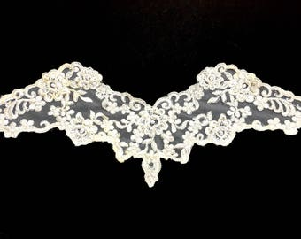 Lovely Net Applique with Satin, Sequins and Faux Pearls