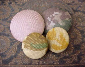 4 Pretty Vintage Fabric Covered Buttons in Earthy Shades