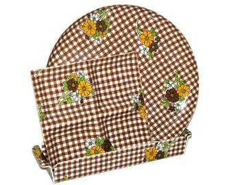 Vintage 60s 70s Set of Three Brown White Gingham Floral Printed Plastic Party Serving Trays