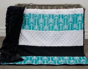 Baby Quilt - Strip Quilt - Teal Black White - Baby Blanket - Minky Baby Quilt - Arrows Baby Blanket - Arrow Baby Blanket - Gender Neutral
